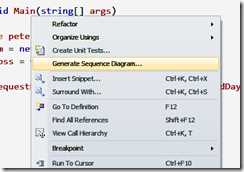 Peter generate sequence diagrams with visual studio 2010 then visual studio will ask you how deep you want to go which classesmethods to include in the sequence diagram ccuart Images